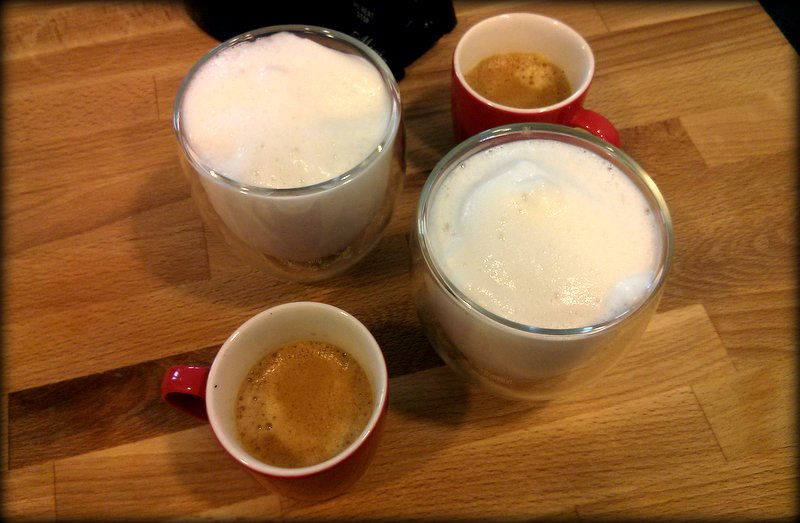 Almond Milk foam/froth next to shots of espresso