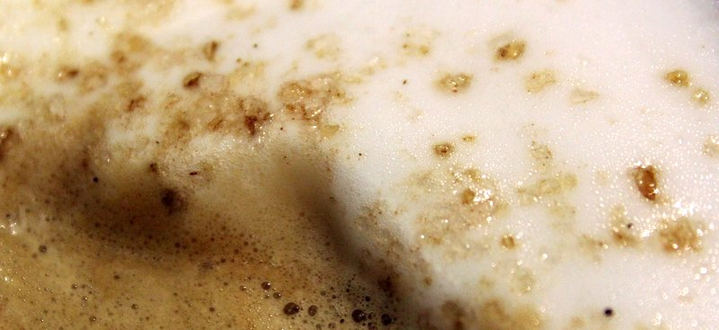 Close-up of almond milk foam