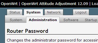 Open WRT -> System -> Administration