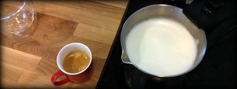 Almond Milk foam/froth next to a shot of espresso
